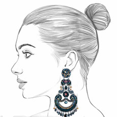Ayala Bar Moon Jet Black Panther Earrings