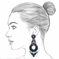 Ayala Bar Moon Jet Black Hole Earrings