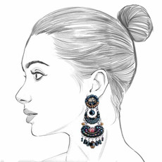 Ayala Bar Moon Jet Black Screen Earrings