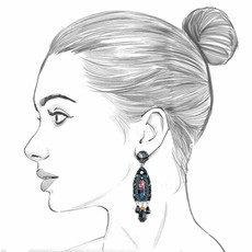 Ayala Bar Moon Jet Black Rose Earrings