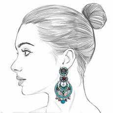 Ayala Bar Tapestry Delight Peeking Moon Earrings