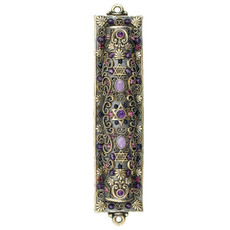 Michal Golan Regal Purple and Silver Mezuzah