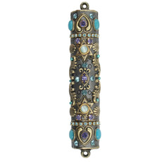 Michal Golan Silver and Teal Mezuzah