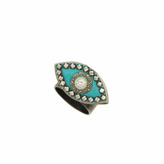 Michal Golan Turquoise and Black Evil Eye Ring