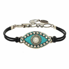 Michal Golan Turquoise and Black Evil Eye Bracelets