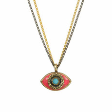 Michal Golan Small Pink Turquoise and Black Evil Eye Necklace