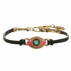 Michal Golan Small Pink Turquoise and Black Evil Eye Bracelet