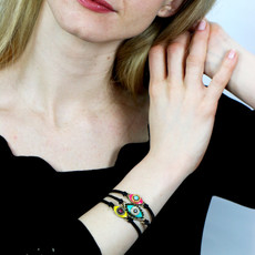 Michal Golan Small Pink and Turquoise Evil Eye Bracelet