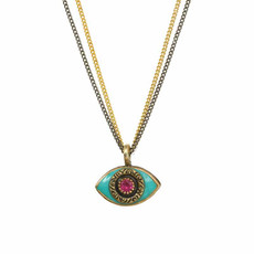 Michal Golan Green Evil Eyes Necklace