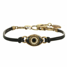 Michal Golan Small black evil eye Lether bracelet