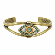 Michal Golan Silver and Turquoise Evil Eye Bangle