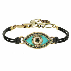 Michal Golan Evil Eye Turquoise Leather Bracelet