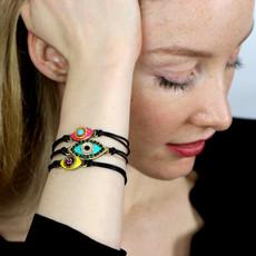 Michal Golan Evil Eye Turquoise Leather Bracelet