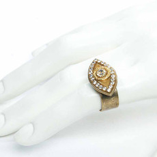 Michal Golan Gold and white evil eye ring