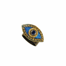Michal Golan Deep Blue and Gold Evil Eye Ring