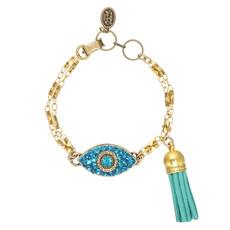 Michal Golan Dazzling Cyan Eye Charm Bracelet