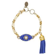 Michal Golan Dazzling Blue Eye Charm Bracelet