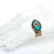 Michal Golan Black abd turquoise evil eye ring