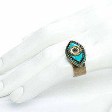 Michal Golan Black abd turquoise evil eye ring