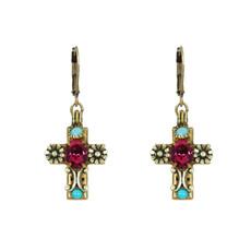 Michal Golan Aqua Cross Earrings