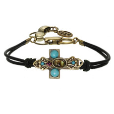 Michal Golan Small abalone and turquoise cross bracelet on leather strap