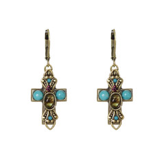 Michal Golan Small abalone and turquoise Cross Earrings