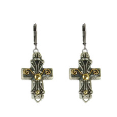 Michal Golan Small grey and gold cross earrings