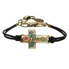 Michal Golan Small pastel garden cross bracelet