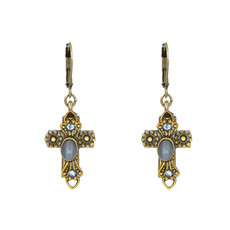 Michal Golan Small sky crystals cross earrings