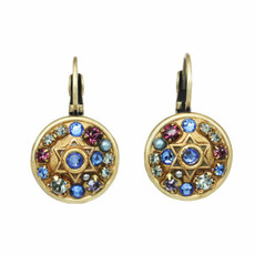 Michal Golan Blue and Purple Star of David Earrings