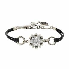 Michal Golan Silver Leather Bracelet