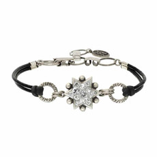 Michal Golan Silver Leather Bracelet