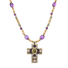 Michal Golan Amethyst Cross Necklace