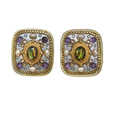 Michal Golan Amethyst Square Clip on Earrings