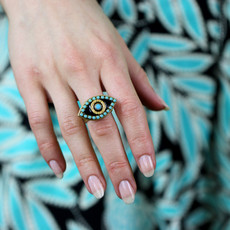 Michal Golan Black and Blue Evil Eye Ring
