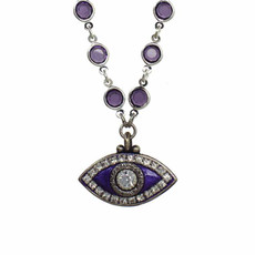 Michal Golan Deep Purple Evil Eye Necklace on Crystal Chain