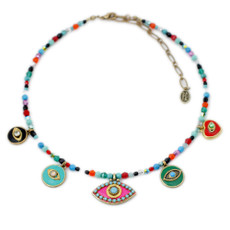 Michal Golan Eye Charm Necklace on Beaded Chain