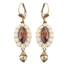 Michal Negrin Brown Oval Earrings