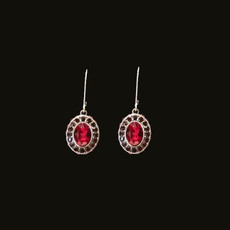 Michal Negrin Lady in Red Swarovski Crystals Silver 925 Earrings