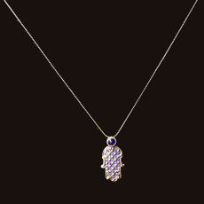 Michal Negrin Purple Crystal Hamsa Necklace