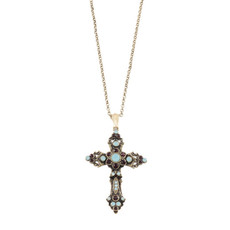 Michal Negrin Crystals Cross Necklace