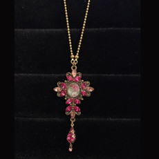Michal Negrin Crystals Flower Faith Delicate Cross Necklace