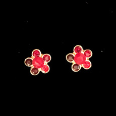 Michal Negrin Small Post Red Flower Earrings