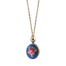 Michal Negrin Locket Watch Flower Necklace