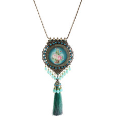 Michal Negrin Turquoise Flower Tassel Necklace