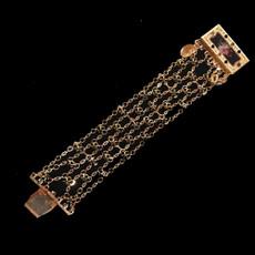 Michal Negrin Shimmering 24 Carat Gold Plated Rose Crystal Bracelet