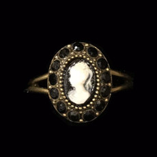 Michal Negrin Victorian Crystal Black Adjustable  Ring