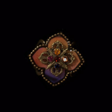 Michal Negrin Crimson Rainbow Flower Ring