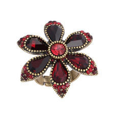 Michal Negrin Crystal Flower Red Ring