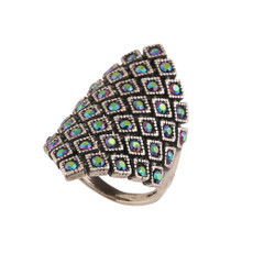 Michal Negrin Charlotte Crystal Silver 925 Ring Size 8